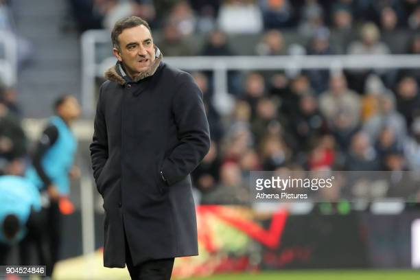 Swansea manager Carlos Carvalhal stands on the touch line during the Premier League match between Newcastle United and Swansea City at St James' Park...