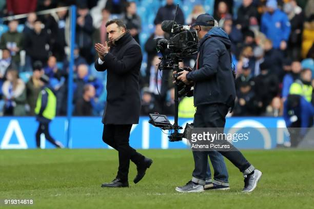 Swansea manager Carlos Carvalhal thanks away supporters during The Emirates FA Cup Fifth Round match between Sheffield Wednesday and Swansea City at...