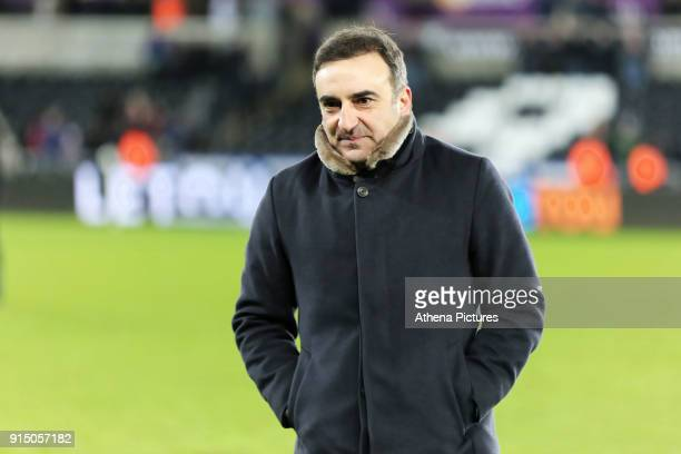 Swansea manager Carlos Carvalhal walks off the pitch after the end of the game during The Emirates FA Cup match between Swansea City and Notts County...