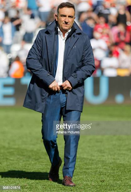 Swansea manager Carlos Carvalhal walks on the pitch after the end of the game during the Premier League match between Swansea City and Stoke City at...
