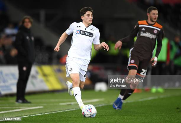 Swansea manager Daniel James in action during the Sky Bet Championship at Liberty Stadium on April 02 2019 in Swansea Wales