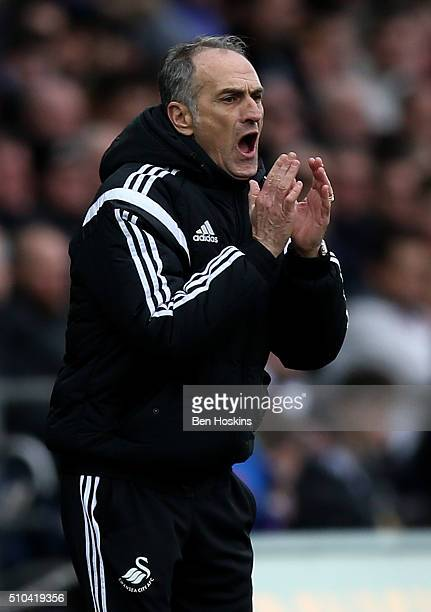 Swansea manager Francesco Guidolin shouts instructions during the Barclays Premier League match between Swansea City and Southampton at the Liberty...