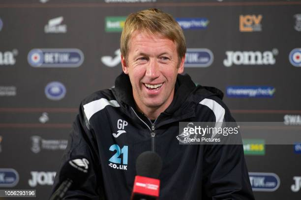 Swansea manager Graham Potter during the Swansea City Press Conference at the Fairwood Training Ground on November 01 2018 in Swansea Wales
