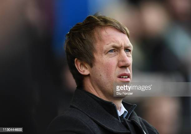 Swansea manager Graham Potter looks on during the FA Cup Fifth Round match between Swansea and Brentford at Liberty Stadium on February 17 2019 in...