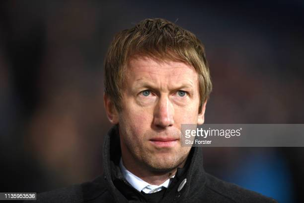 Swansea manager Graham Potter looks on during the Sky Bet Championship match between West Bromwich Albion and Swansea City at The Hawthorns on March...