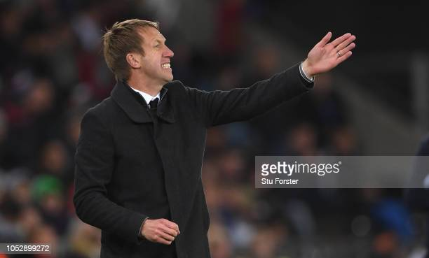 Swansea manager Graham Potter reacts during the Sky bet Championship EFL match between Swansea City v Blackburn Rovers at Liberty Stadium on October...