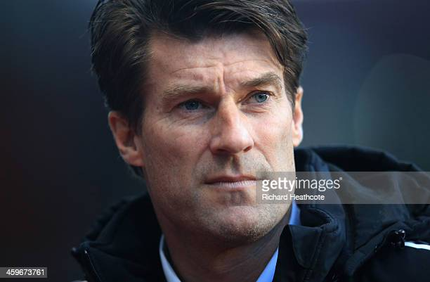 Swansea Manager Michael Laudrup during the Barclays Premier League match between Aston Villa and Swansea City at Villa Park on December 28 2013 in...