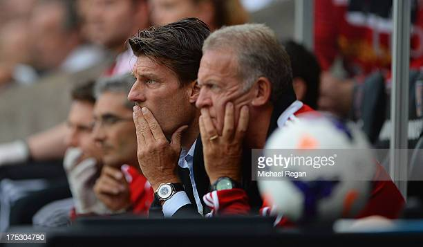 Swansea manager Michael Laudrup looks on during the UEFA Europa League third round qualifying first leg match between Swansea City and Malmo at the...