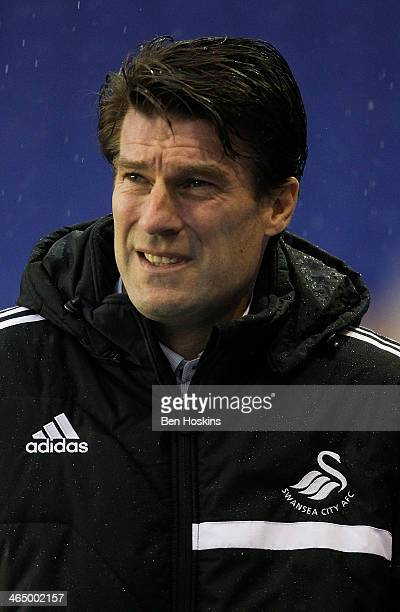 Swansea manager Michael Laudrup looks on prior to the Budweiser FA Cup Fourth Round match between Birmingham City and Swansea City at St Andrews on...