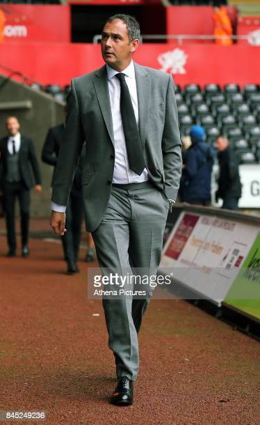 Swansea manager Paul Clement arrive prior to the game during the Premier League match between Swansea City and Newcastle United at The Liberty...