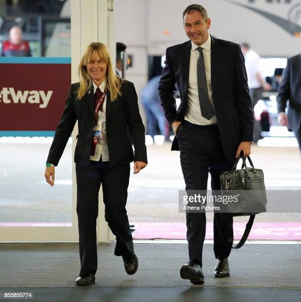 Swansea manager Paul Clement arrives prior to the Premier League match between West Ham United and Swansea City at the London Stadium on September 30...