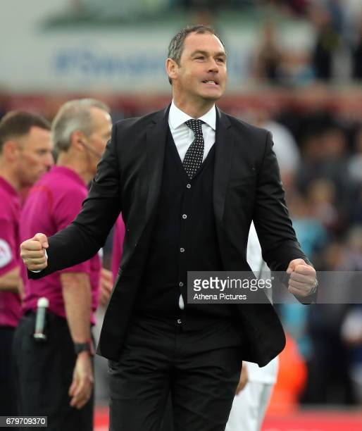 Swansea manager Paul Clement celebrates his team's win after the Premier League match between Swansea City and Everton at The Liberty Stadium on May...