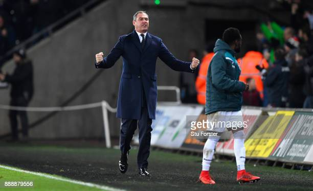 Swansea manager Paul Clement celebrates the winning goal during the Premier League match between Swansea City and West Bromwich Albion at Liberty...