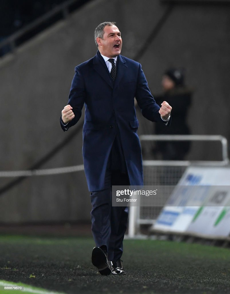 Swansea manager Paul Clement celebrates the winning goal during the Premier League match between Swansea City and West Bromwich Albion at Liberty Stadium on December 9, 2017 in Swansea, Wales.
