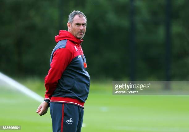 Swansea manager Paul Clement during the Swansea City Training and Press Conference at The Fairwood Training Ground on August 24 2017 in Swansea Wales