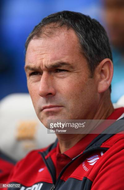 Swansea manager Paul Clement looks on during the Pre Season Friendly match between Birmingham City and Swansea City at St Andrews on July 29 2017 in...