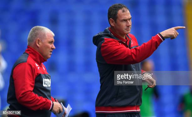 Swansea manager Paul Clement makes a point as coach Nigel Gibbs looks on during the Pre Season Friendly match between Birmingham City and Swansea...