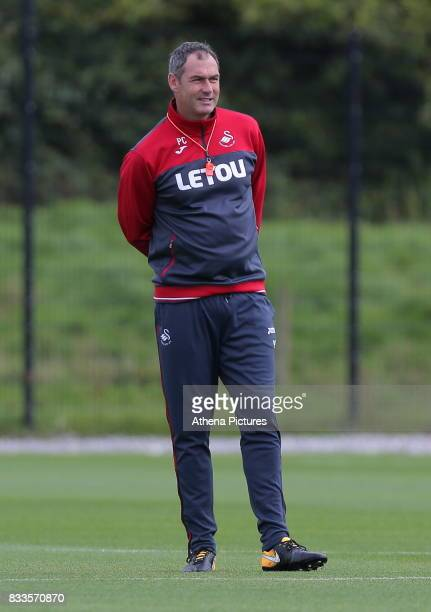 Swansea manager Paul Clement observes the training during the Swansea City Training at The Fairwood Training Ground on August 16 2017 in Swansea Wales