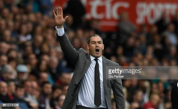 Swansea manager Paul Clement reacts during the Premier League match between Swansea City and Huddersfield Town at Liberty Stadium on October 14 2017...