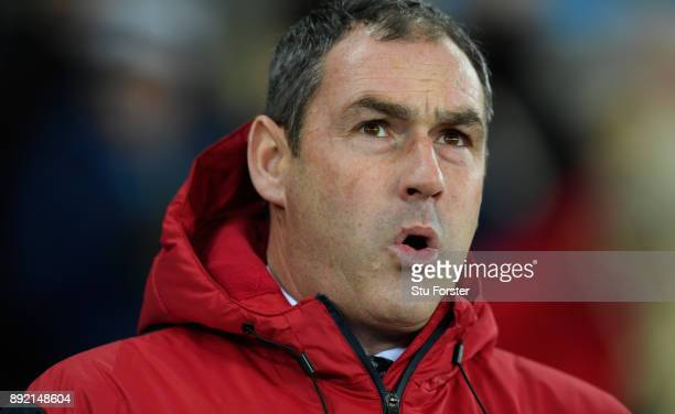 Swansea manager Paul Clement reacts during the Premier League match between Swansea City and Manchester City at Liberty Stadium on December 13 2017...