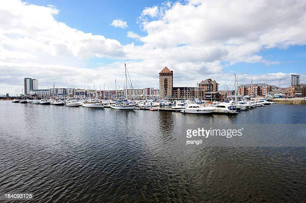 Swansea Marina in the UK on a cloudy day