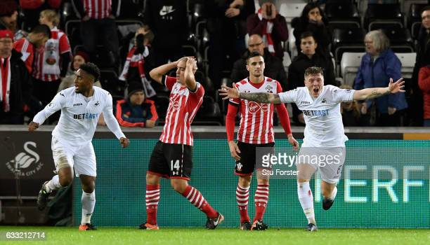 Swansea player Alfie Mawson celebrates his goal during the Premier League match between Swansea City and Southampton at Liberty Stadium on January 31...