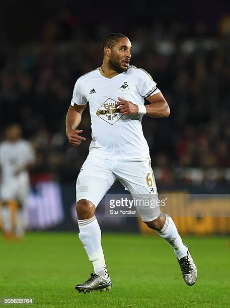 Swansea player Ashley Williams in action during the Barclays Premier League match between Swansea City and Watford at Liberty Stadium on January 18...