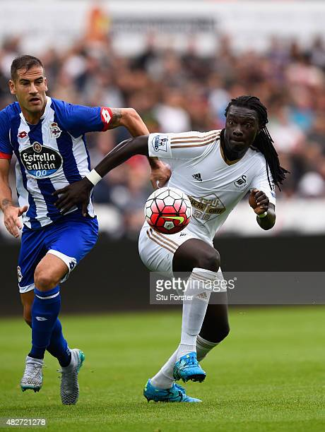Swansea player Bafetimbi Gomis in action during the Pre season friendly match between Swansea City and Deportivo La Coruna at Liberty Stadium on...