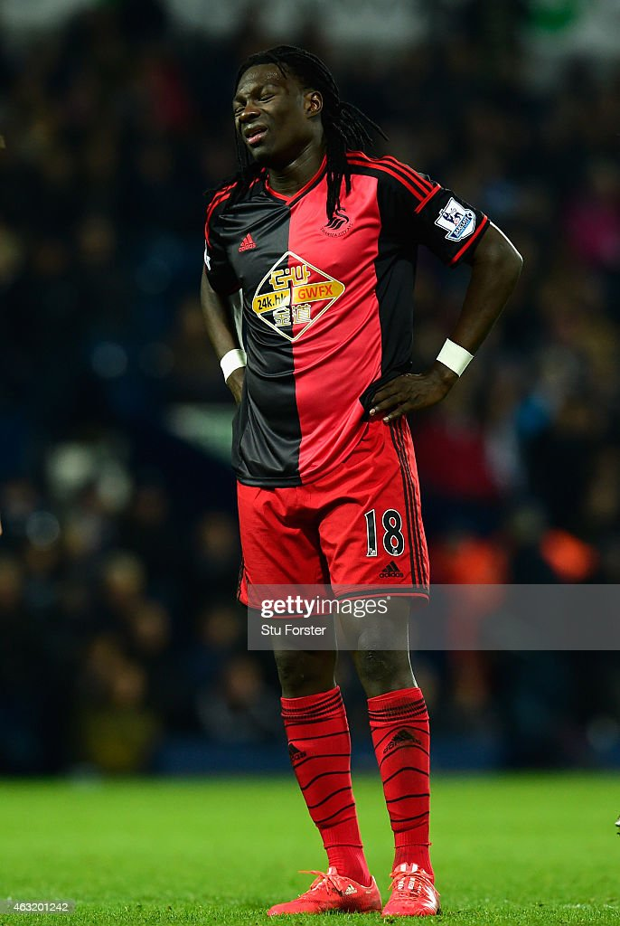 Swansea player Bafetimbi Gomis reacts after missing a chance during the Barclays Premier League match between West Bromwich Albion and Swansea City at The Hawthorns on February 11, 2015 in West Bromwich, England.