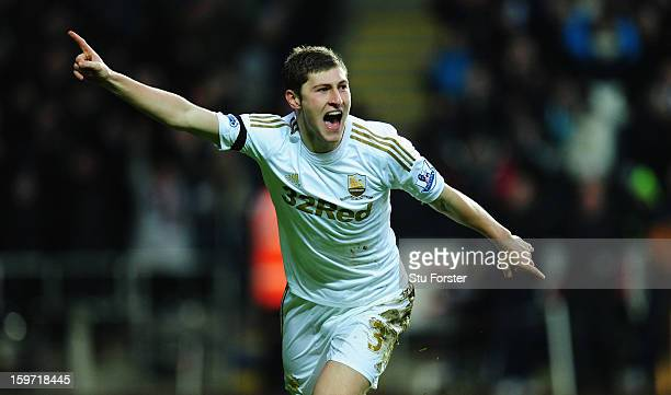 Swansea player Ben Davies celebrates the first goal during the Barclays Premier League match between Swansea City and Stoke City at Liberty Stadium...