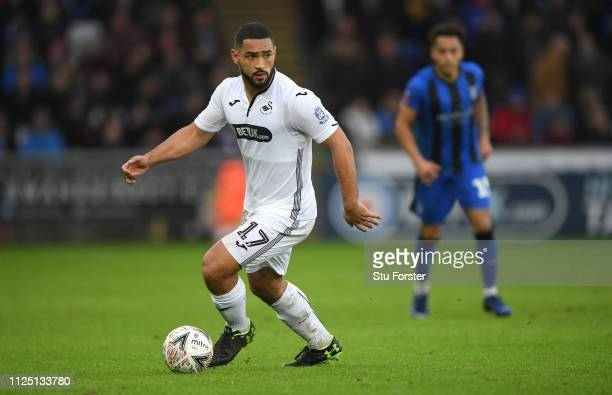 Swansea player Cameron Carter-Vickers in action during the FA Cup Fourth Round match between Swansea City and Gillingham at Liberty Stadium on...