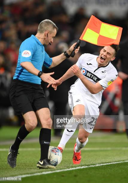 Swansea player Connor Roberts in action during the Sky Bet Championship at Liberty Stadium on April 02, 2019 in Swansea, Wales.
