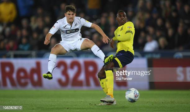Swansea player Dan James is challenged by Blackburn player Amarai'i Bell during the Sky bet Championship EFL match between Swansea City v Blackburn...