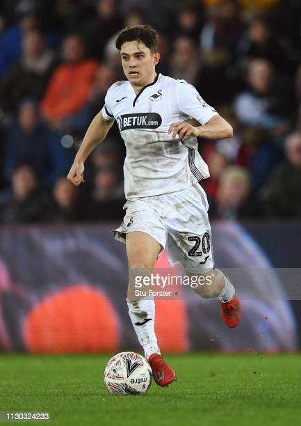 Swansea player Daniel James in action during the FA Cup Fifth Round match between Swansea and Brentford at Liberty Stadium on February 17 2019 in...