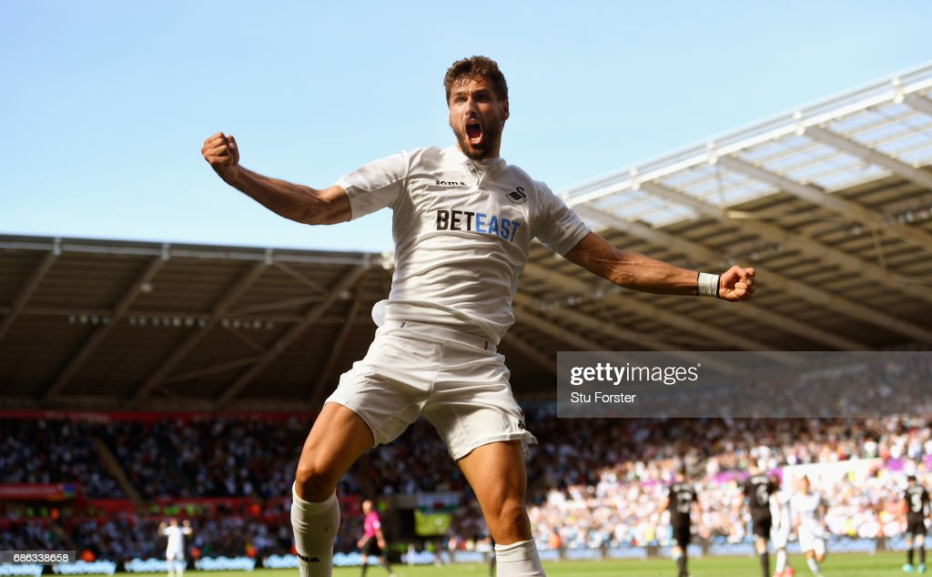 Swansea player Fernando Llorente celebrates his and the winning goal during the Premier League match between Swansea City and West Bromwich Albion at Liberty Stadium on May 21, 2017 in Swansea, Wales.