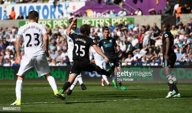 Swansea player Fernando Llorente scores the winning goal during the Premier League match between Swansea City and West Bromwich Albion at Liberty...