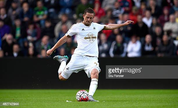 Swansea player Gylfi Sigurdsson in action during the Pre season friendly match between Swansea City and Deportivo La Coruna at Liberty Stadium on...