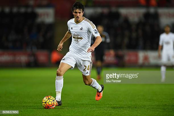 Swansea player Jack Cork in action during the Barclays Premier League match between Swansea City and Watford at Liberty Stadium on January 18 2016 in...