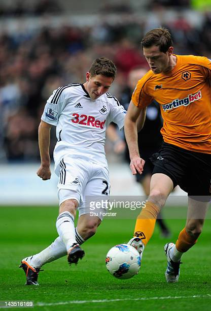 Swansea player Joe Allen scores the second goal during the Barclays Premier league match between Swansea City and Wolverhampton Wanderers at Liberty...