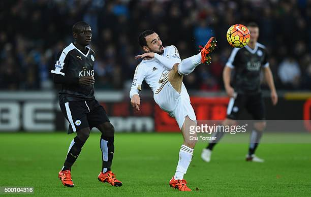 Swansea player Leon Britton in action during the Barclays Premier League match between Swansea City and Leicester City at Liberty Stadium on December...