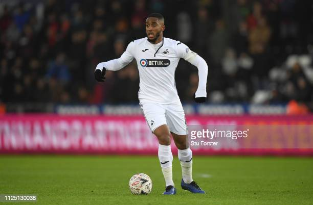 Swansea player Leroy Fer in action during the FA Cup Fourth Round match between Swansea City and Gillingham at Liberty Stadium on January 26 2019 in...