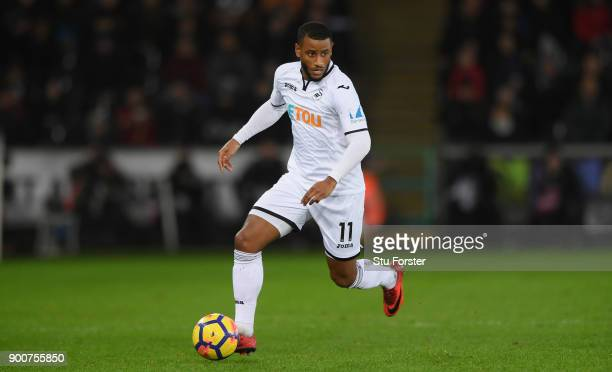 Swansea player Luciano Narsingh in action during the Premier League match between Swansea City and Tottenham Hotspur at Liberty Stadium on January 2...