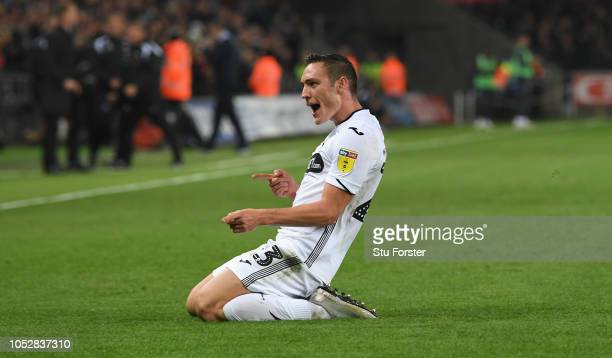 Swansea player Martin Roberts celebrates after scoring the second Swansea goal during the Sky bet Championship EFL match between Swansea City v...