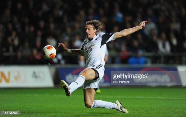 Swansea player Michu scores the opening goal during the UEFA Europa League Group A match between Swansea City and FC Kuban Krasnodar at Liberty...