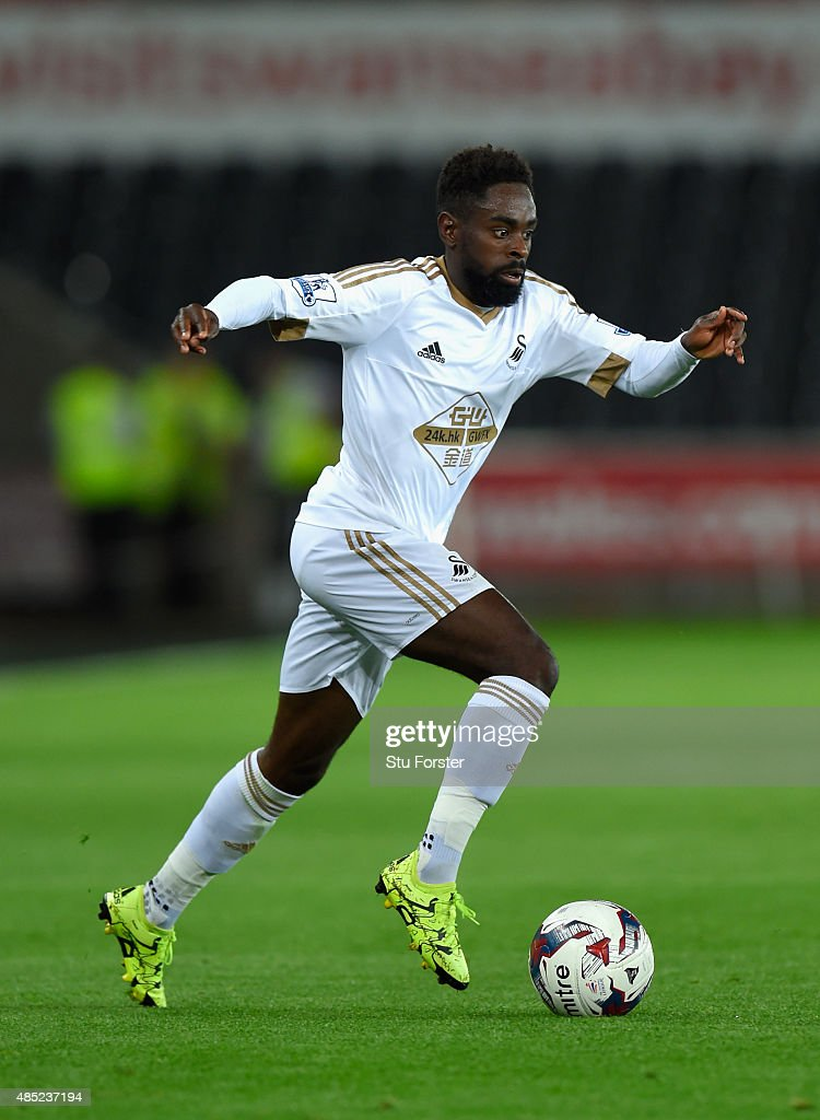 Swansea player Nathan Dyer in action during the Capital One Cup Second Round match between Swansea City and York City at Liberty Stadium on August 25, 2015 in Swansea, Wales.
