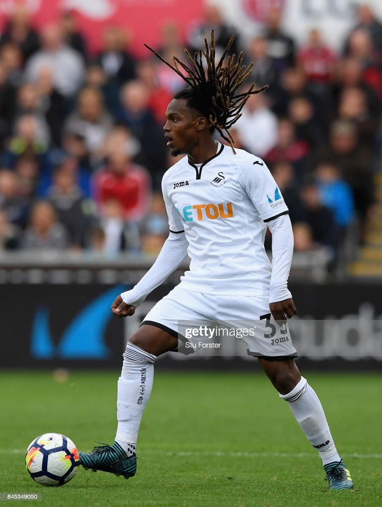 Swansea player Renato Sanches in action during the Premier League match between Swansea City and Newcastle United at Liberty Stadium on September 10, 2017 in Swansea, Wales.