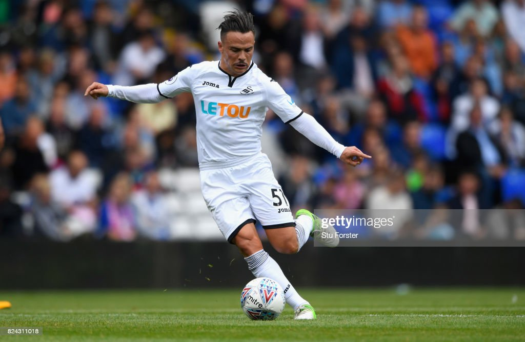Swansea player Roque Mesa in action during the Pre Season Friendly match between Birmingham City and Swansea City at St Andrews (stadium) on July 29, 2017 in Birmingham, England.