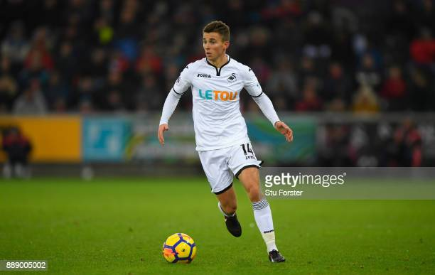 Swansea player Tom Carroll in action during the Premier League match between Swansea City and West Bromwich Albion at Liberty Stadium on December 9...