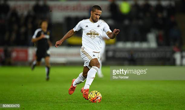 Swansea player Wayne Routledge in action during the Barclays Premier League match between Swansea City and Watford at Liberty Stadium on January 18...