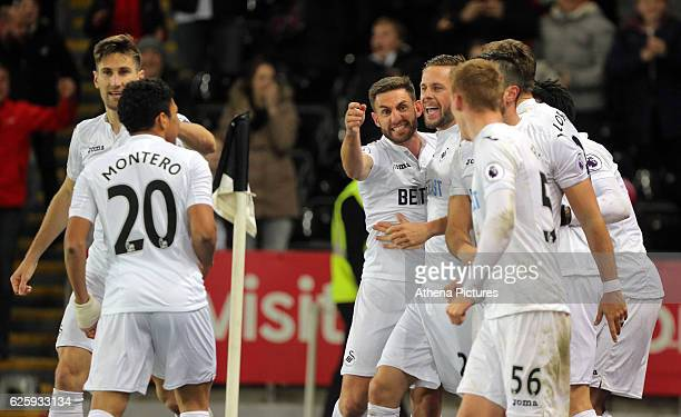 Swansea players celebrate Fernando Llorente's goal making the score 54 during the Premier League match between Swansea City and Crystal Palace at The...